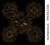 golden realistic fireworks on... | Shutterstock .eps vector #596562236
