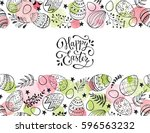 easter eggs composition hand... | Shutterstock .eps vector #596563232