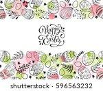 easter eggs composition hand... | Shutterstock .eps vector #596563232