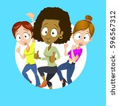 illustration of multiethnic... | Shutterstock .eps vector #596567312