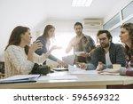 start up team of freelancers in ... | Shutterstock . vector #596569322
