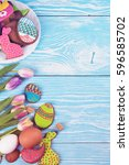 tulips and gingerbread cookies... | Shutterstock . vector #596585702