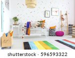 colorful carpet on a white... | Shutterstock . vector #596593322