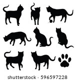 Stock vector vector cat silhouettes with paw symbol 596597228