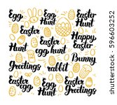 easter egg hand drawn lettering.... | Shutterstock .eps vector #596603252