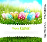 cute easter template with...   Shutterstock .eps vector #596608106