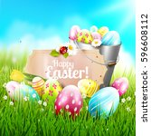 cute easter background with... | Shutterstock .eps vector #596608112