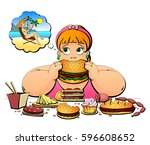 a plump woman eats  and dreams... | Shutterstock .eps vector #596608652