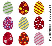 set of colorful easter eggs.... | Shutterstock .eps vector #596616365