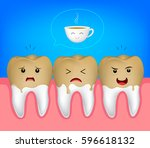 tooth character with coffee... | Shutterstock .eps vector #596618132