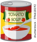 tomato soup in aluminum can... | Shutterstock .eps vector #596618192