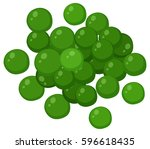 Green Peas On White Background...