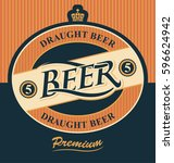 beer label with crown in... | Shutterstock .eps vector #596624942