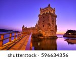 belem tower in lisbon portugal... | Shutterstock . vector #596634356