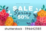 Stock vector spring sale banner with paper flowers on a blue background banner perfect for promotions 596642585