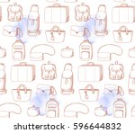 bags in retro style. hand drawn ... | Shutterstock .eps vector #596644832