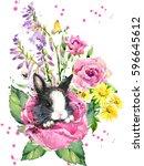 cute rabbit watercolor... | Shutterstock . vector #596645612