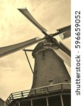 traditional dutch windmill on...