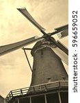 traditional dutch windmill on...