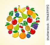 fruit background. vector | Shutterstock .eps vector #596659592