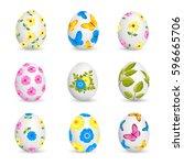 easter eggs isolated on white... | Shutterstock .eps vector #596665706