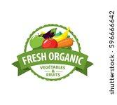 organic food emblem and badge | Shutterstock .eps vector #596666642