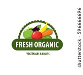 organic food emblem and badge | Shutterstock .eps vector #596666696