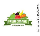 organic food emblem and badge | Shutterstock .eps vector #596666726