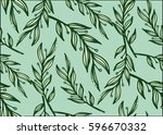 seamless  pattern with leaves... | Shutterstock .eps vector #596670332