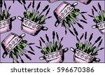 hand drawn flower pattern.... | Shutterstock .eps vector #596670386