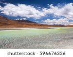 high altitude lagoon with... | Shutterstock . vector #596676326