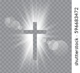 religioush three  crosses with... | Shutterstock .eps vector #596683472