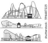 set of  silhouettes roller... | Shutterstock .eps vector #596687225