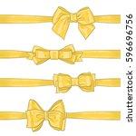 set of golden yellow hand drawn ... | Shutterstock .eps vector #596696756