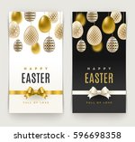 easter greeting cards with eggs ... | Shutterstock .eps vector #596698358