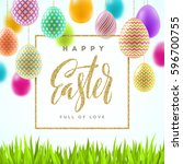 easter vector illustration with ... | Shutterstock .eps vector #596700755
