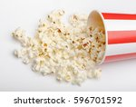 popcorn in red and white... | Shutterstock . vector #596701592