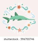 vector cartoon illustration of... | Shutterstock .eps vector #596703746