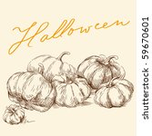 hand drawn pumpkins | Shutterstock .eps vector #59670601