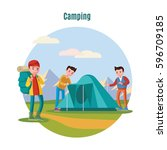 colorful camping and... | Shutterstock .eps vector #596709185