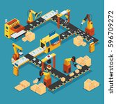 isometric industrial factory... | Shutterstock .eps vector #596709272