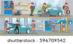 car service horizontal banners... | Shutterstock .eps vector #596709542