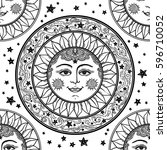 beautiful  sun face with stars... | Shutterstock .eps vector #596710052