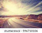 vintage toned scenic desert... | Shutterstock . vector #596710106