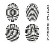 set of fingerprint. line icon   Shutterstock . vector #596716286