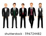 man in suit set vector... | Shutterstock .eps vector #596724482