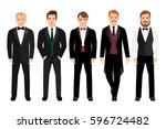 man in suit set vector... | Shutterstock .eps vector #596724482