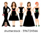 Young Woman In Different Black...