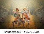 khon is genre of dance drama...   Shutterstock . vector #596732606