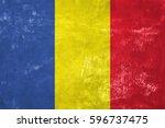 romania   romanian flag on old... | Shutterstock . vector #596737475